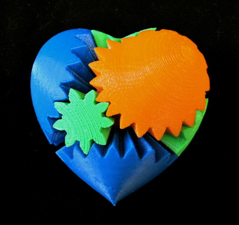 Valentine's Day Geek Love 3D Printed Mechanical Gear Heart image 0
