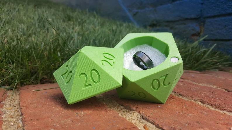 D20 Ring Box ALL 20s 3D Printed Wedding Ring Box image 0