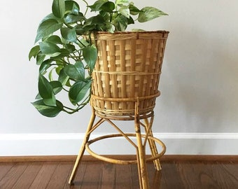 Bamboo Plant Stand with Basket Planter / 2 Piece Plant Stand / Boho / 70's Decor / Indoor Gardening / Apartment Gardening / Lined Planter