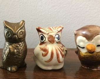 Owl Figurines / Vintage Miniature Owls / Curio Cabinet Animal /  Brass Owl / Ceramic Owl / Pottery Owl / Owl Collection / 70's Knick Knacks