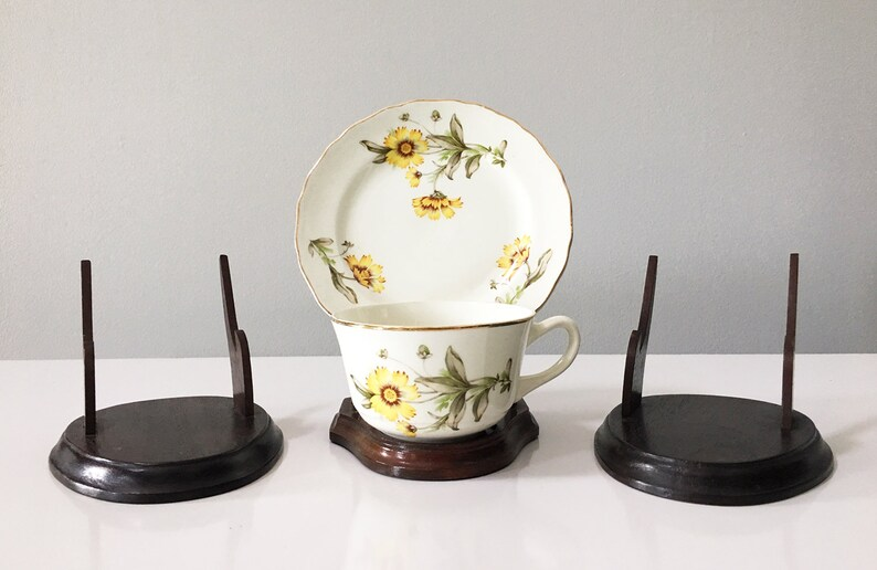 Vintage Wooden Teacup Tea Cup And Saucer Display Stands Lot Of 3 Store Display Stand