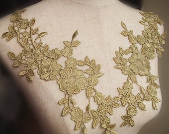 d39afeeb9 one pair of metallic gold lace applique with flowers, bridal lace applique