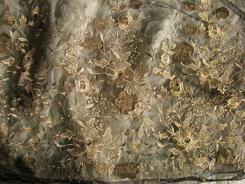 black lace fabric with gold embroidery