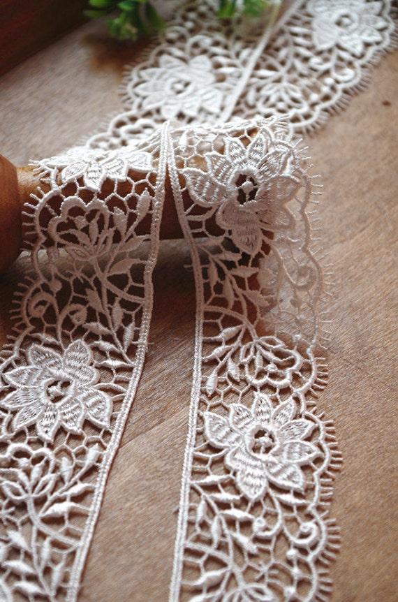 Off White Lace Trim Guipure Lace Trim Crochet Lace Trim Etsy