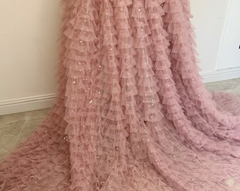 Mauve pink Sequined ruffle fabric for cake dress, costume dress, comes in green, beige and mauve pink