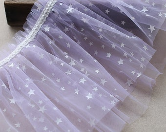 2 Layers Tulle ruffles with stars   lavender