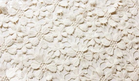Elfenbein Baumwolle Spitzenstoff mit Gänseblümchen | Etsy