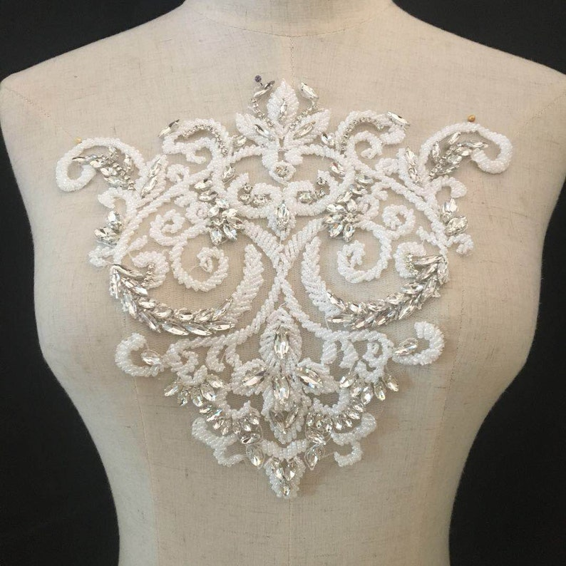 Heavy bead neckline applique Deluxe rhinestone bodice  1ccc9ffeeabc