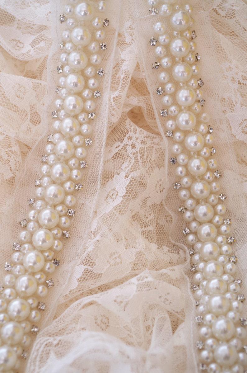 pearl bead sash trim with rhinestones rhinestone and pearl image 0