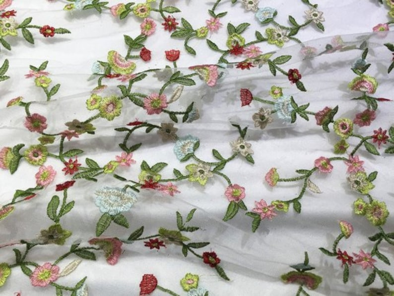 embroidered tulle lace fabric, colorful lace fabric with flowers, 2019 new  arrival, hot selling lace fabric