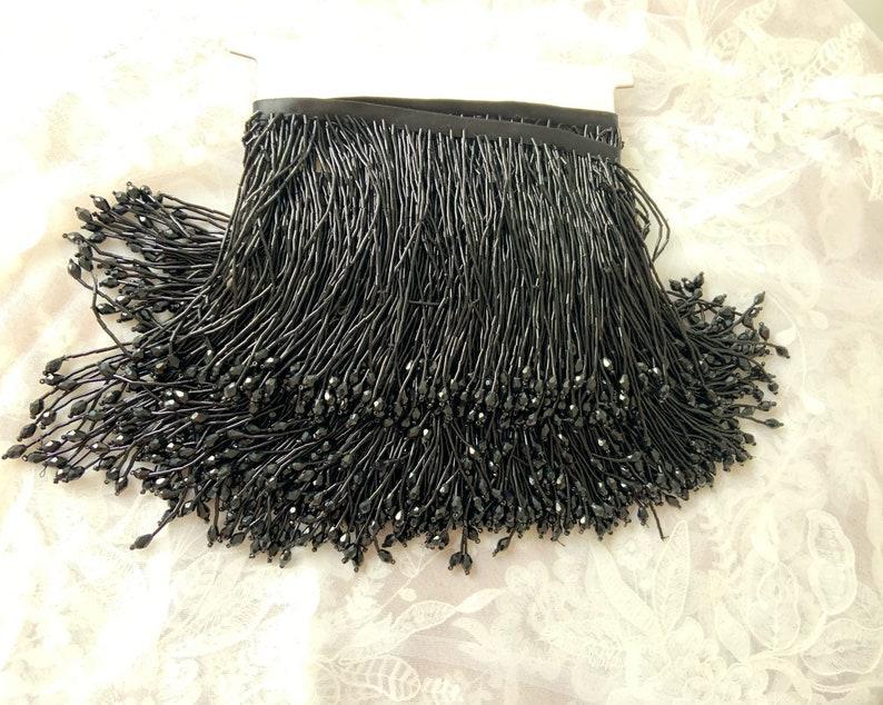 Green bead fringe tassel trim for dance costume haute couture dress trimming beading fringe