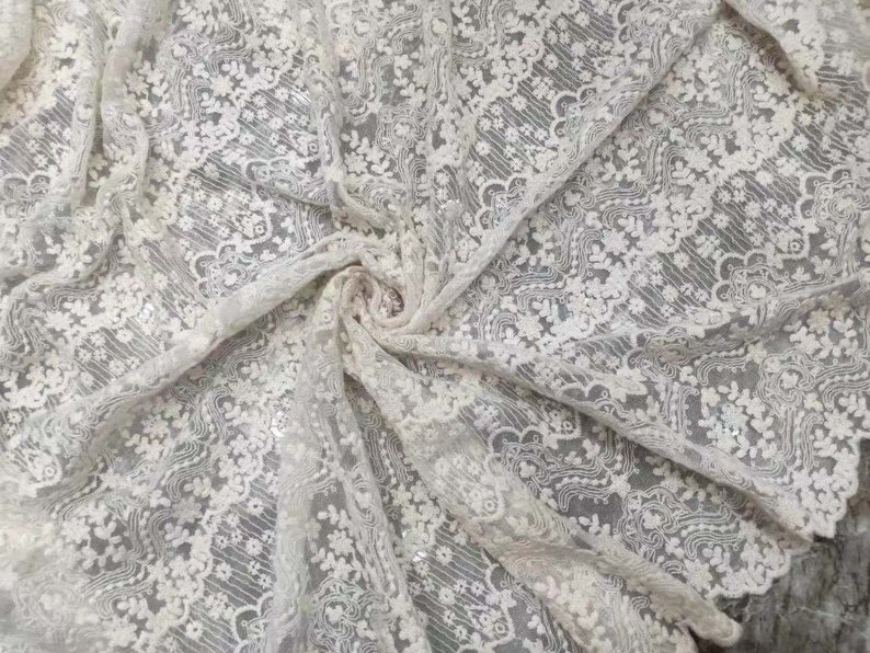 chevron lace fabric ivory cream embroidered tulle lace fabric with retro patterns