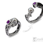 Arthritis Ring Sterling Silver Woman's Hinged Filigree Ring with Amethyst and White Pearl  - KS695