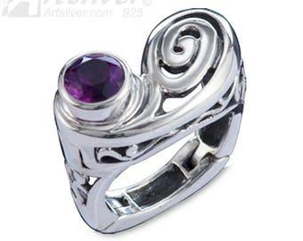 Sterling Silver Rheumatoid Arthritis Hinged Woman's Ring with Amethyst Gemstone KS -615