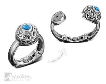 Blue Topaz Arthritis Ring. Sterling Silver Rheumatoid Arthritis Gemstones Ring - KS378s