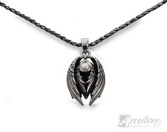 Silver Angel Wing Pendant - KS582
