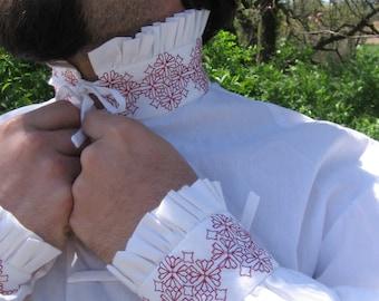 Custom Linen Renaissance Shirt with Blackwork Embroidery