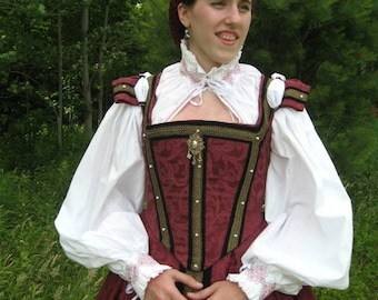 Ladies' Elizabethan Embroidered White Cotton Partlet Blouse