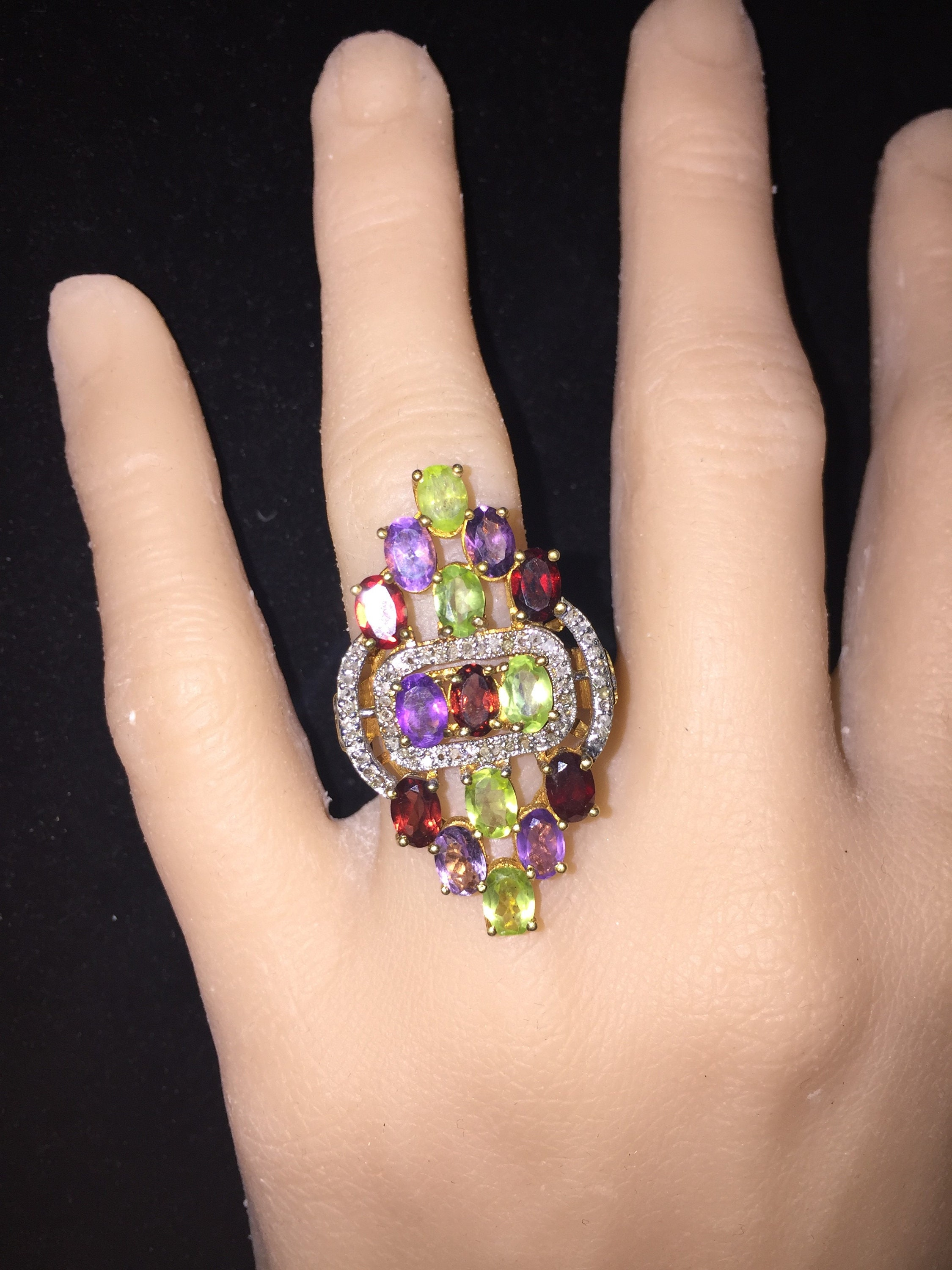 Sale Size 9 Handcrafted 13ct Amethyst Peridot Garnet 125ct Natural Golden Orange Citrine Zoom