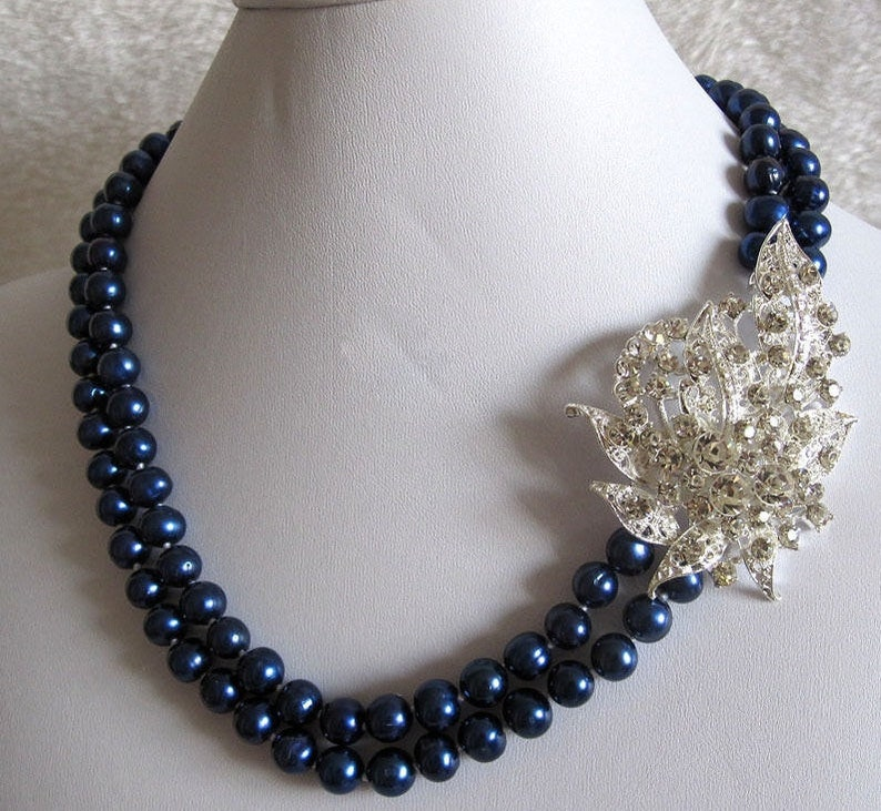 Womens Bridal Jewelry Freshwater Navy Royal Blue Cultured Pearl Botanical Flower Statement Double 19 Strand Necklace
