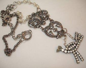 LITTLE BIRD Necklace - ASSEMBLAGE Jewelry - Silver and Pearl Chain- Vintage Rhinestone Bird - Ornate Vintage Drop - Silvertone Flower Chain