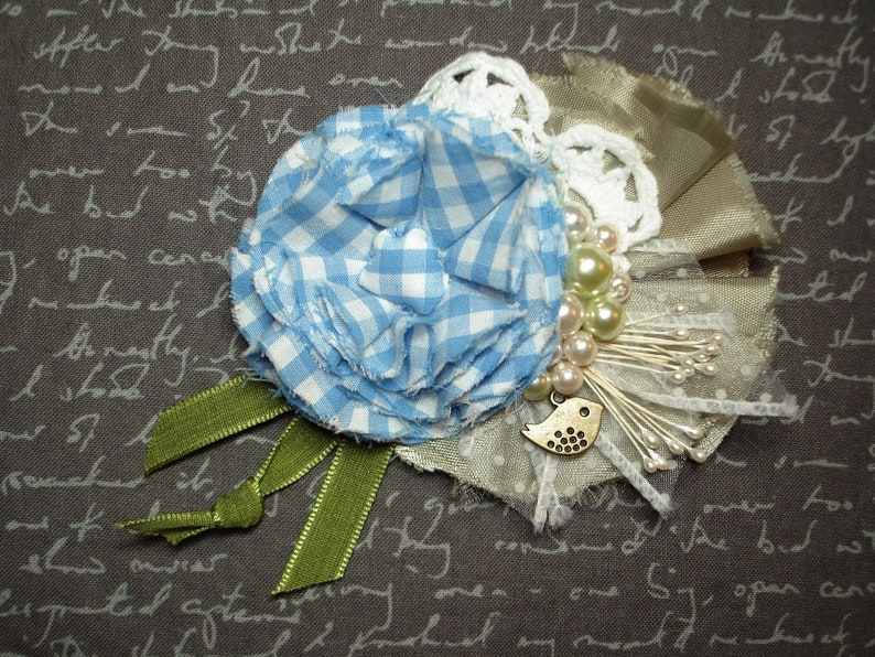 Fabric Flower Brooch or Pin Tiny Bird Charm- Pearl Trims Bar Pin Blue Gingham Flower Green Petals and Ribbon -White Doily Trim