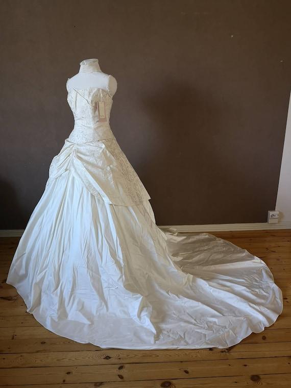 Two piece strapless Silk wedding dress