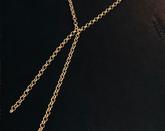 Gold Rope Tie Necklace