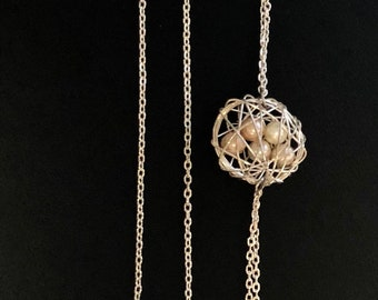 Silver Pearl Nest Asymmetrical Necklace