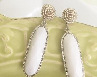 White Statement Stone Earrings