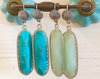 Mint Green Stone Earrings