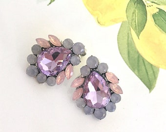 Lavender Teardrop Stud Earrings, Nickel Free