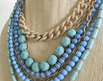 Blue Statement Necklace, Multi Strand Blue Necklace, Something Blue, Blue and Gold Necklace, Blue Bib Necklace Bridesmaid Necklace