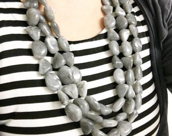 Gray Statement Necklace, Triple Strand Gray Necklace