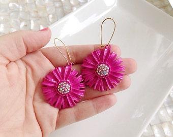 Fuchsia Pink Drop Flower Earrings