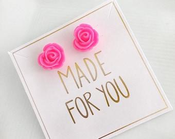 Hot Pink Flower Stud Earrings, Neon Pink Stud Earrings, Spring Earrings, Flower Stud Earrings, Pink Stud Earrings