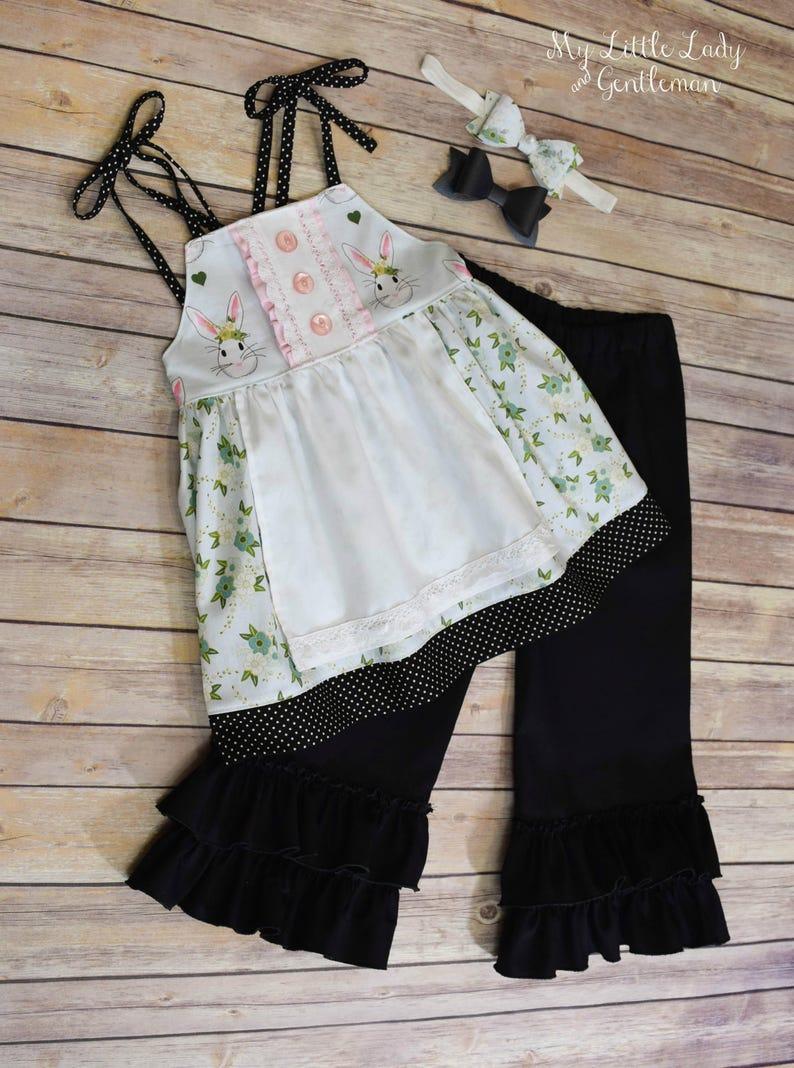 96c9cd3cad440 Bunny Apron Top and Ruffle Pants Set- bunny print top- toddler girls set-  girls spring outfit- toddler pant set- black pants- spring floral