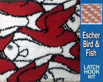 Bird/Fish MC Escher - DIY Latch Hook Kit 30*30 Inches
