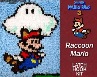 Super Mario: Raccoon Mario with Cloud - Latch Hook Kit - DIY Latch Hook 9.5*13 Inches