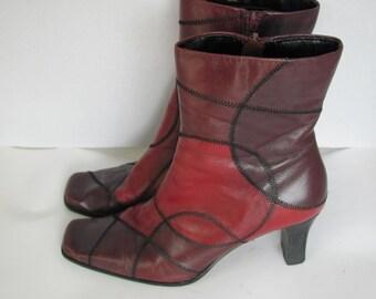 7cb23d28cc6 Groovy Vintage Liz Claiborne Patchwork Leather Ankle Boots Size 7 1 2