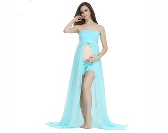 51f98fecc90 Clearance Maternity Photography Dress Strapless Dress Plus Size Dress Split  in front Dress Stretch Chiffon Dress Maternity Dress Photo Prop