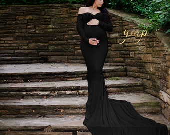 8576045d4d5d3 Lady Long Sleeves with Long Train Low cut Maternity Photography Dress for  Photoshoot,Baby Shower Dress,Cotton Stretchy Dress,Maternity Gown