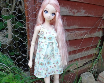 Teapots and Roses Print Dress for Smart doll Feeple60 Dollfie Dream Delf DD 1/3 SD BJD clothes outfit