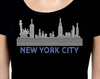 New York City Skyline RHINESTONE t-shirt tank top - S M L XL 2XL - Bling NYC  Sky Line Scrapers Buildings Architecture Liberty Statue Tower 54694bb0d