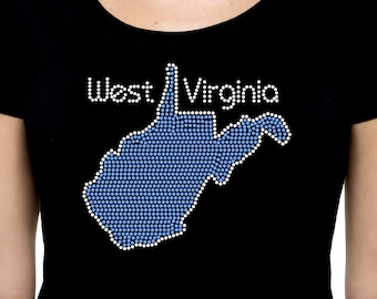 State of West Virginia RHINESTONE t-shirt tank top  - S M L XL 2XL - WV Map Outline bling silhouette shirt tank souvenir trip visit vacation