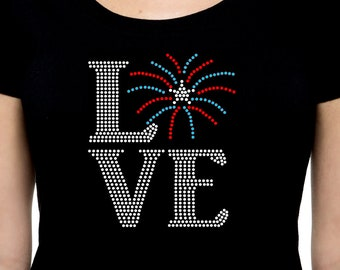 Love Fireworks RHINESTONE t-shirt tank top S M L XL 2XL USA America United States Independence Day Fourth of July 4th Patriotic Boom Bang