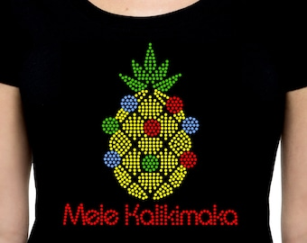Mele Kalikimaka Christmas Pineapple RHINESTONE t-shirt tank top  S M L XL 2XL - Merry Holiday Bling Ornaments Xmas Hawaii Hawaiian