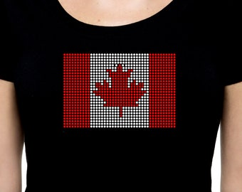 Canadian Flag RHINESTONE t-shirt tank top  - S M L XL 2XL - Canada White Red Maple Leaf Bling