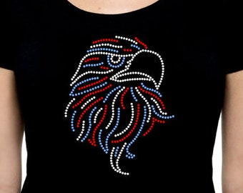 Patriotic Eagle RHINESTONE t-shirt tank top  S M L XL 2XL - USA America United States Freedom Memorial Day 4th of July Independence