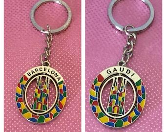 Barcelona/Gaudi Spain Keychain, Silver tone, Item No. B519
